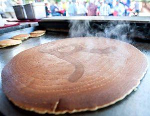 A giant Alisal-branded pancake on the morning breakfast horseback ride at Alisal Guest Ranch & Resort