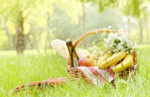 A picnic basket with wine as part of the Romance Package at the Alisal Guest Ranch and resort.
