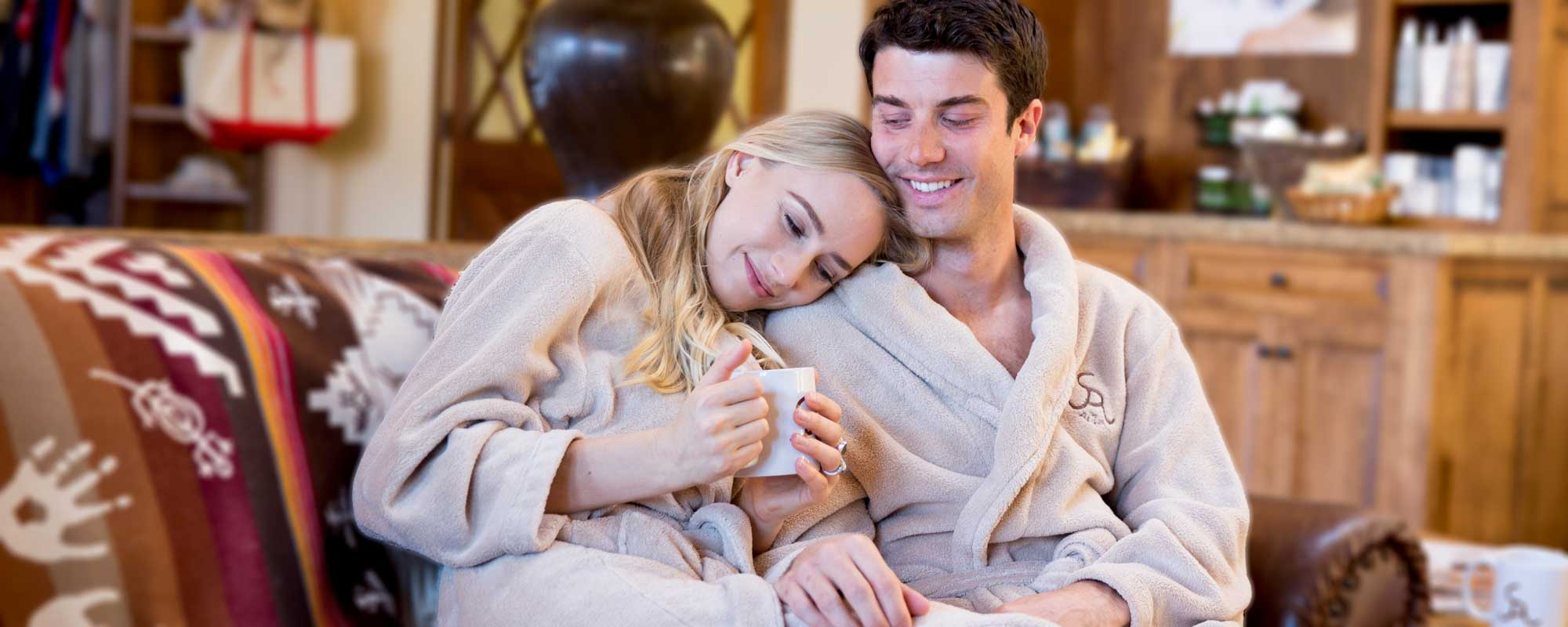 A Couple enjoying a romantic spa getaway at the Alisal Guest Ranch & Resort
