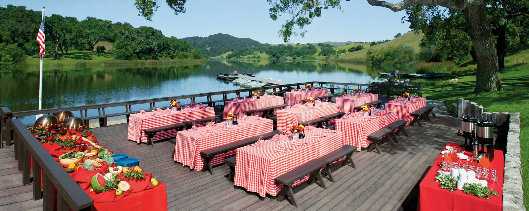 Alisal Lake makes the perfect backdrop for your event and meeting dinners.