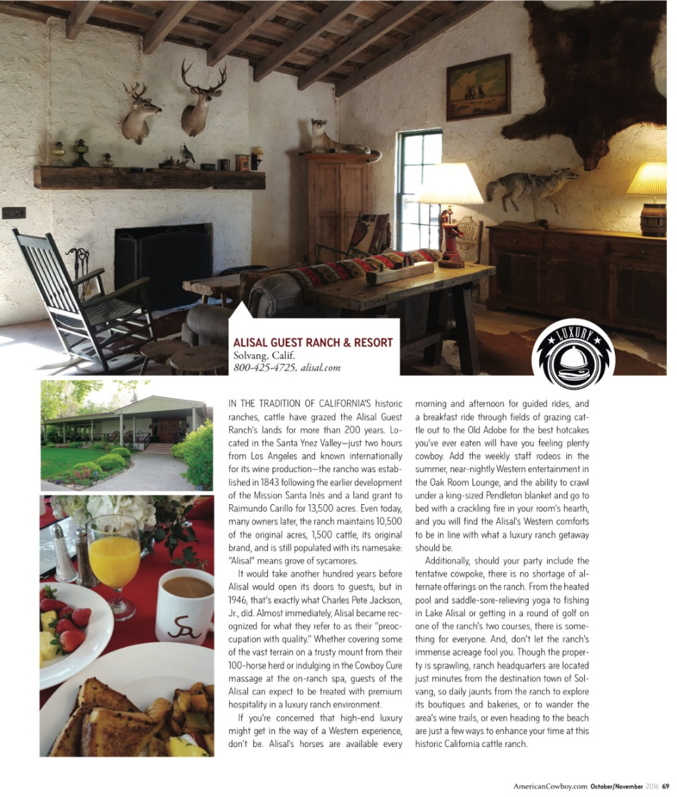 American Cowboy magazine features Alisal Guest Ranch & Resort