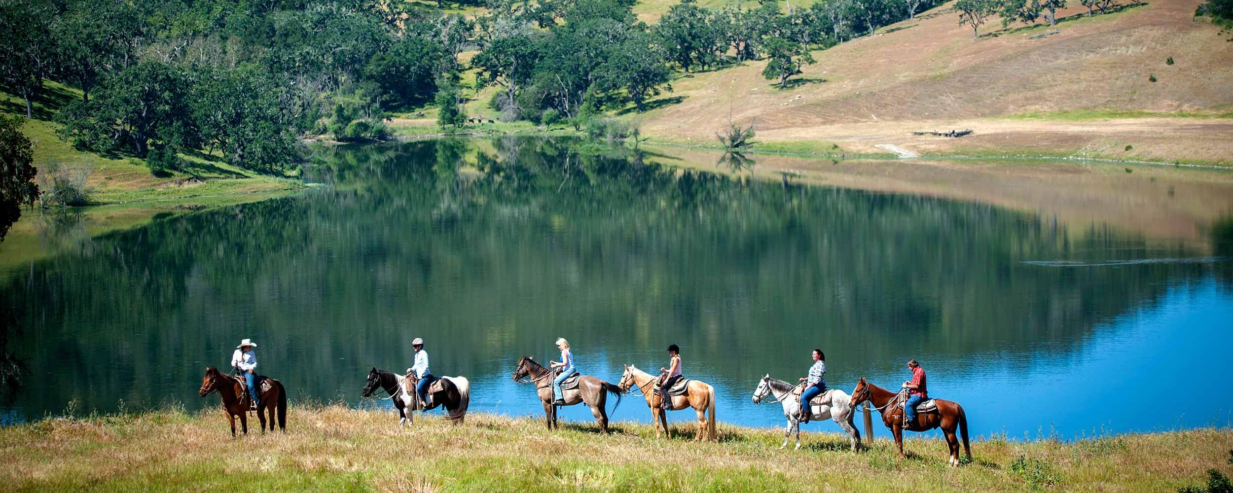horseback riding by the Lake - Alisal Resort in Solvang California