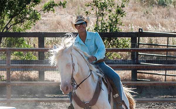 Wrangler on horseback at the Alisal