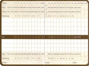 Ranch Golf Course Scorecard
