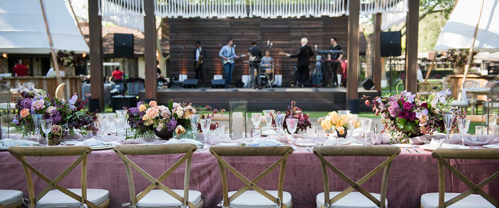 The Wedding Couple's table at wedding reception at the Alisal Guest Ranch & Resort