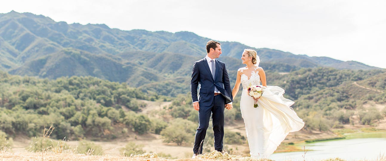 Happy wedding couple just married at Alisal Lake