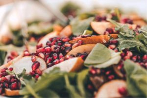 Spinach salad with fresh pomegranate seeds at the Alisal Guest Ranch & Resort