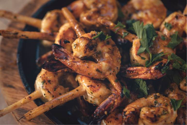 Grilled shrimp skewers from the