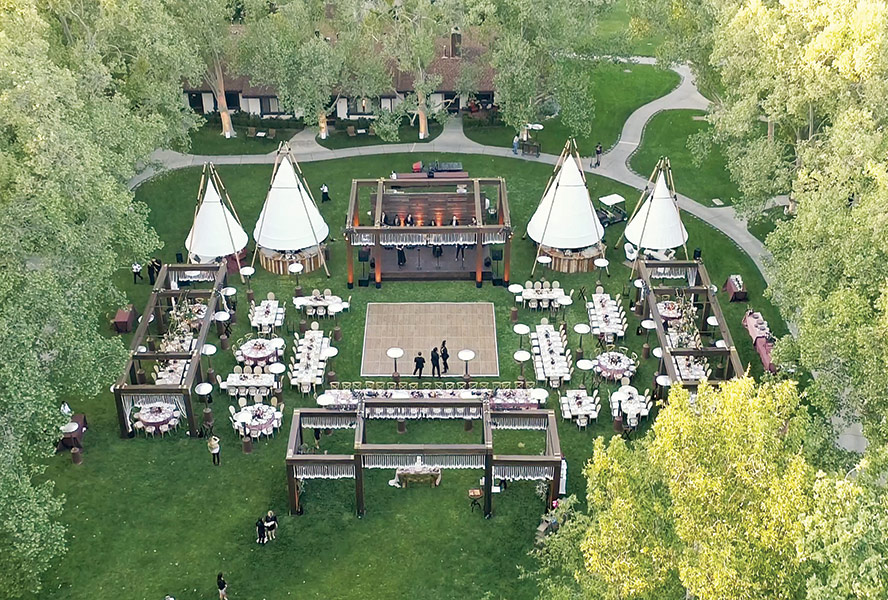 Aerial shot of wedding at The Alisal