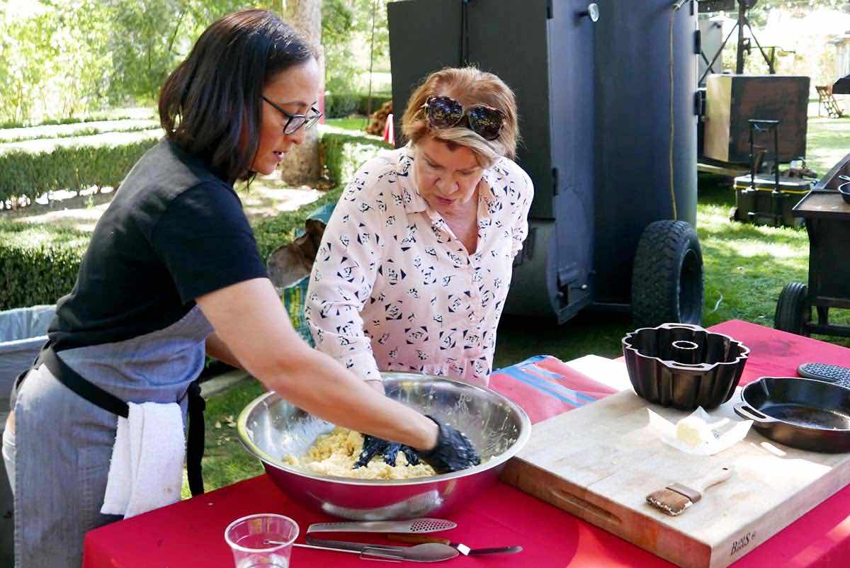 Mixing dessert dough at Alisal's BBQ Bootcamp 2018