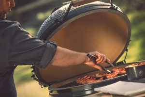 grilling on a Big Green Egg