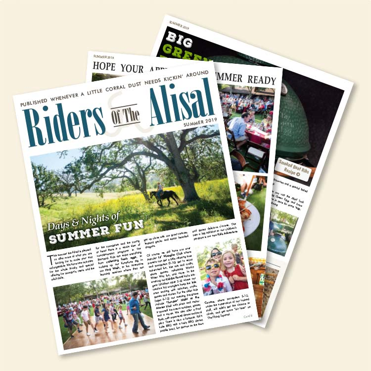 the pages of the Summer 2019 Riders of the Alisal magazine fanned out