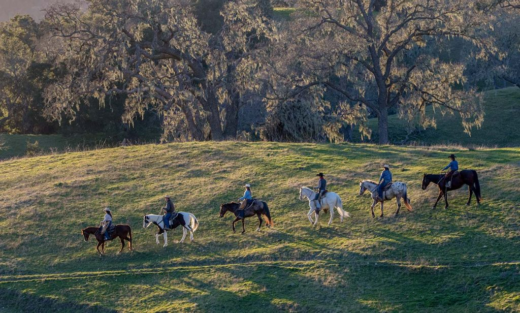A group on a horseback trail ride at Alisal Guest Ranch & Resort