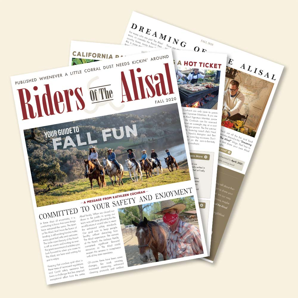 Cover of the Riders of the Alisal Newsletter for Fall 2020